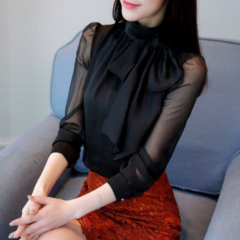 Long Sleeve Casual Office Blouse Women