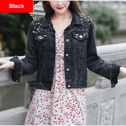 Pearl Beading Casual Fancy Denim Jacket Shorts