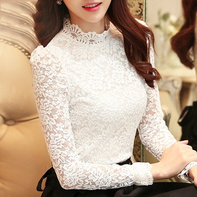 Lace Tops White Blouse Shirt for Women Hollow Out Lace