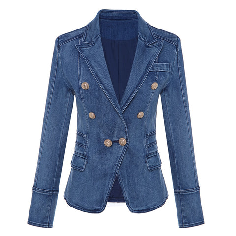 Shawl lapel Jean coat with metal lion button's