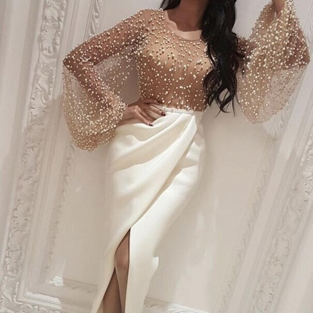 Long Party Beaded Embellished Mesh Patchwork Slit Dress