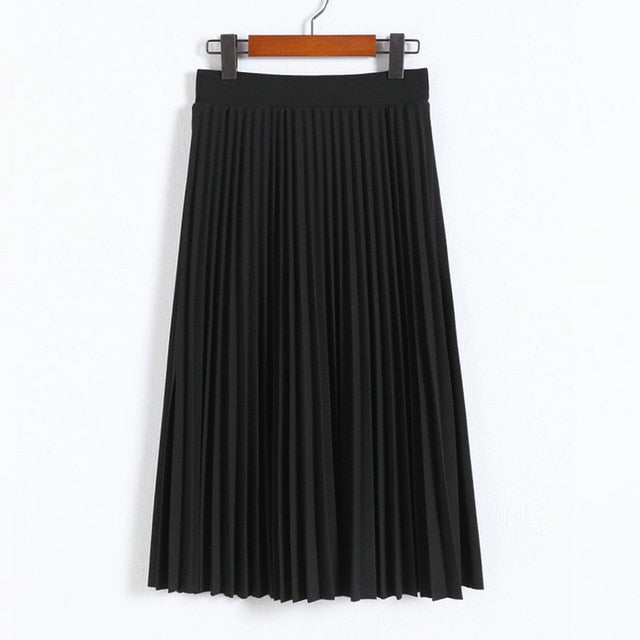 Half Length Elastic High Waist Black Pink Skirt