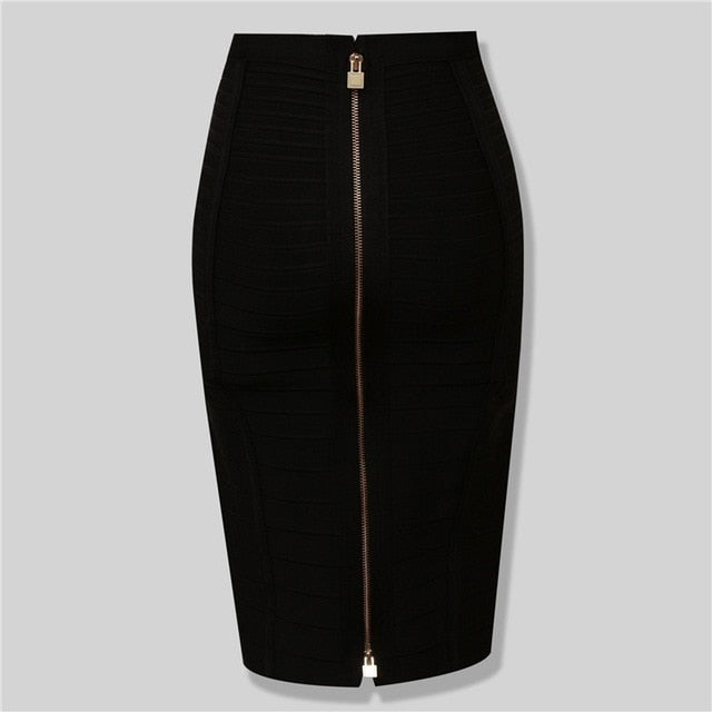 Tube skirt Midi Sexy Look Bandage Back Zipper Skirt