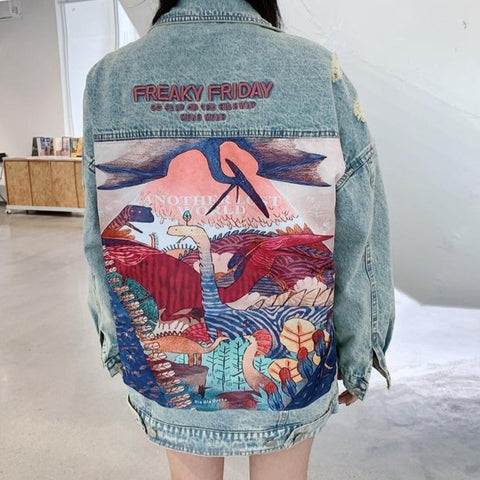 Zara Cartoon Printed Jacket Vintage Streetwear |  Cartoon Jacket Beautifully Printed