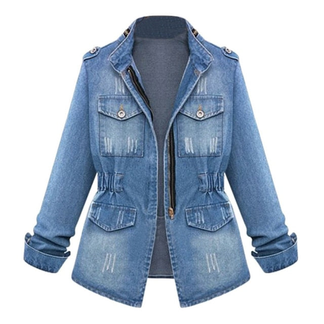 Slim Zipper Denim Coat for Female Fashion