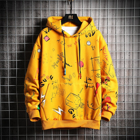Winter street wear yellow hoodie
