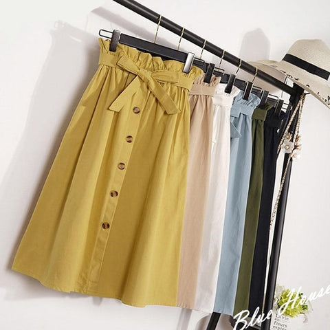 Knee Length Korean Autumn Maxi School Skirt