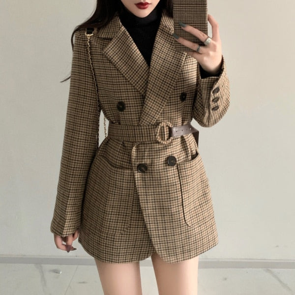 Vintage Plaid Blazer Woolen Coat Tops