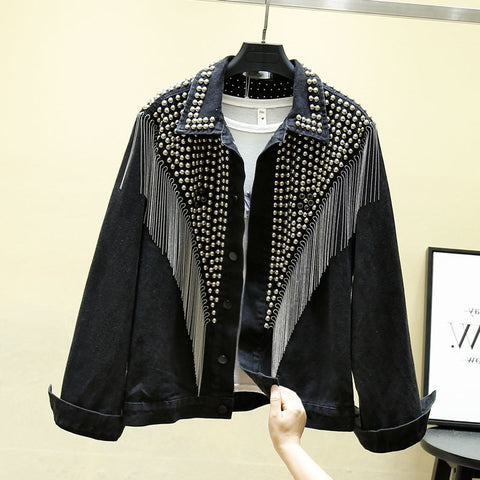 Rivet Tassel Chain Trendy Plus Size Coats