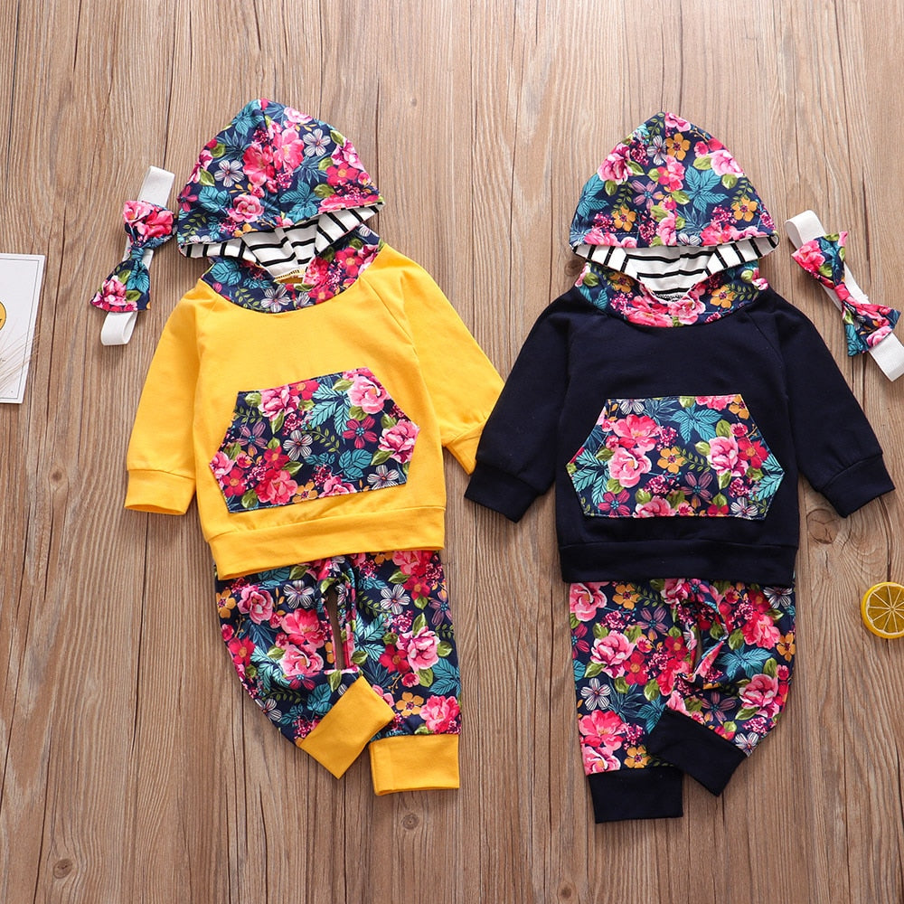 3PCS summer outfit Floral Print Baby Girl Clothes Set