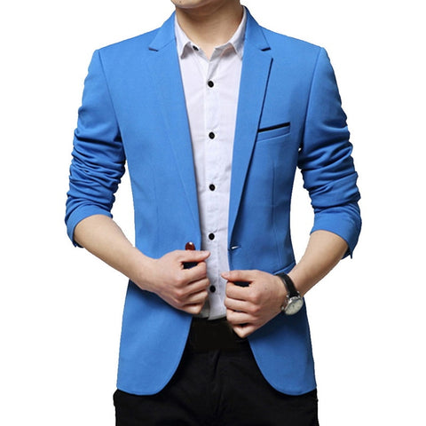 Cotton Suit Jacket Male Blazer