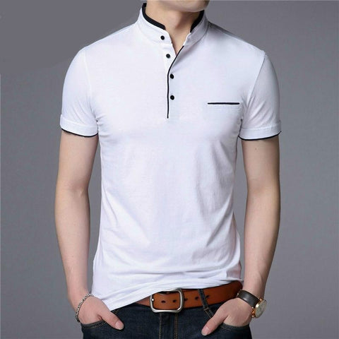 FuyBill Mandarin Collar Short Sleeve Men's T-Shirt