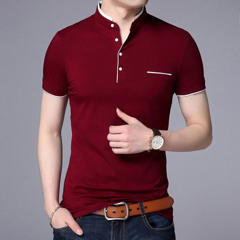 Mandarin Collar Short Sleeve Men's T-Shirt