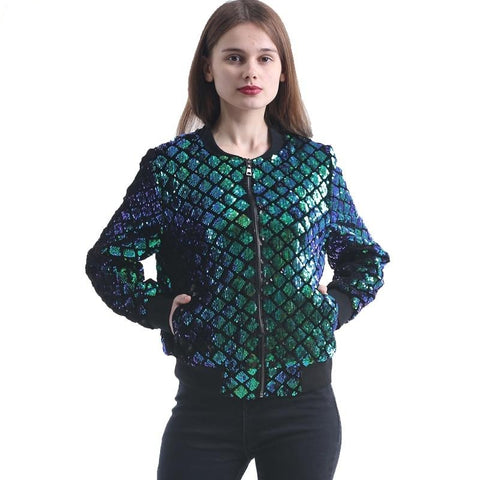 O-Neck Zipper Short Coat Green Sequins