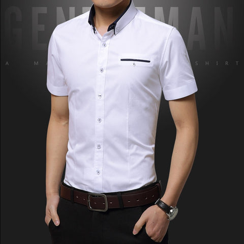Solid Slim Fit Short Sleeve Men Shirt