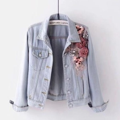 Flowers Pearl Bead Denim Short Jean Jacket