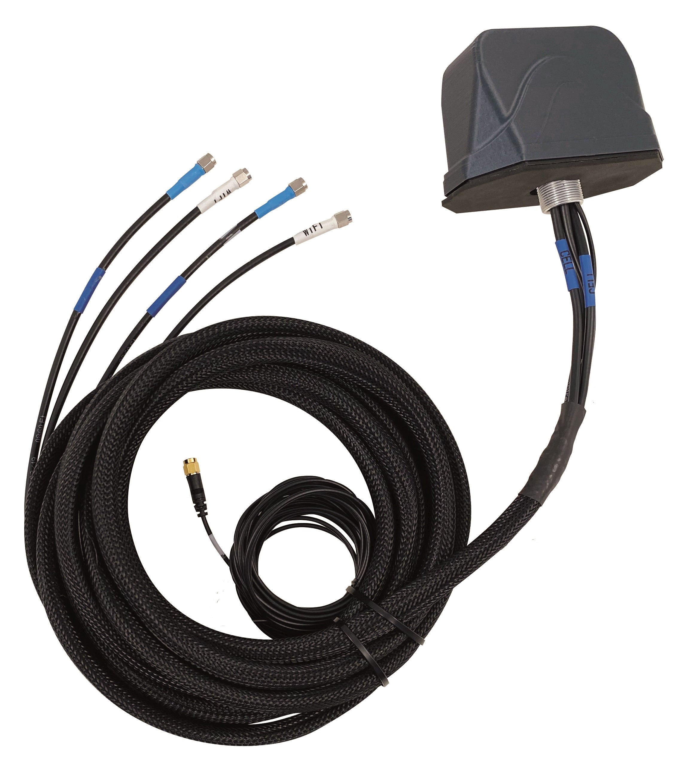 RM2D-G55WW-18-SSSRR-B: 5-in-1 Vehicular Antenna. MiMo 4G/LTE/5G/Band 71/CBRS + Dual Wi-Fi & GPS/GNSS. Direct Mount.