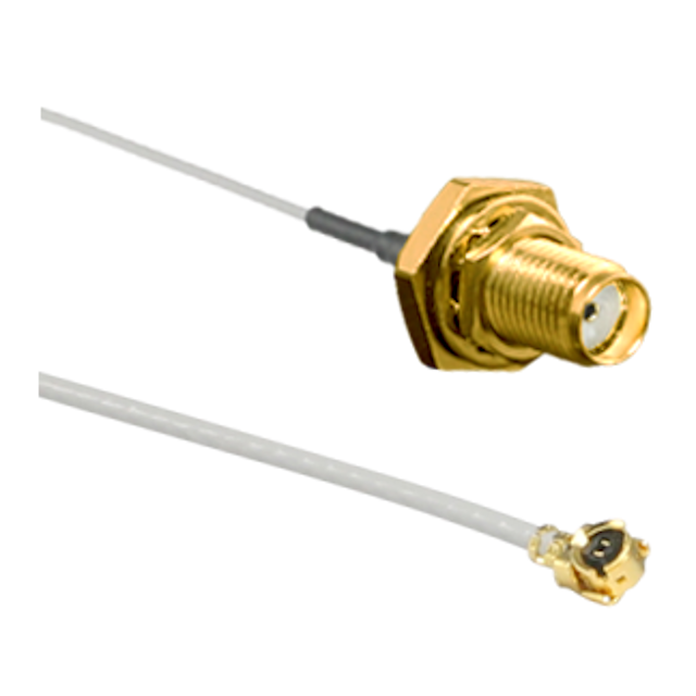 CSI-SGFI-200-UFFR: SMA Gold Jack (Female) Bulkhead Internal Mount (CONSMA014-G-1.13) to Right Angle MHF/U.FL Compatible Jack (CONUFL012-1.13) with 200mm of 1.13mm Cable