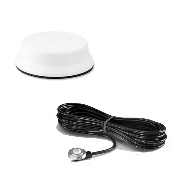 GPSNMO07: Pulse-Larsen White Low Profile GPS Antenna with NMO mount-17 ft cable, SMB Connector Installed