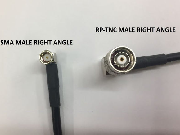 PT195-004-RTMRA-SSMRA: 4 Feet LMR 195 Cable Assembly with RP TNC-Male Right angle and SMA-Male Right Angle Connectors