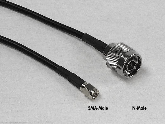 PT058-001-SNM-SSM: 1 Foot RG58 Jumper Cable for Cellullar M2M Enclosure. N-Male and SMA Male Connectors