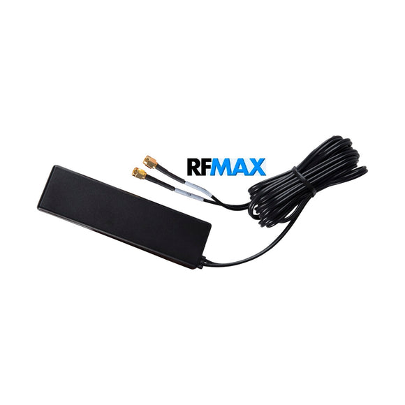 RG4A-10SSM: GPS+3G/4G/LTE No Drilling-Adhesive Mount Antenna for Dashboard/Windshield. 10 ft Cable & SMA.
