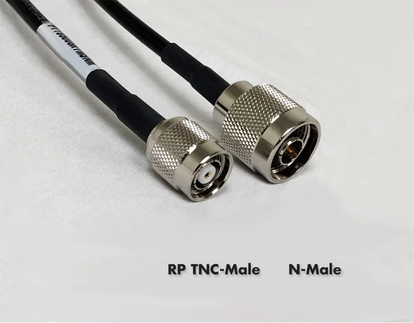 LMR195 Type equivalent Cable - RPTNC-Male to Standard N-Male - 18 Foot