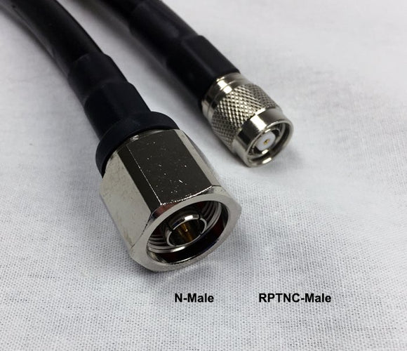 LMR400 Type Equivalent Low Loss Coax Cable - 25 Feet - N Male - RP TNC Male