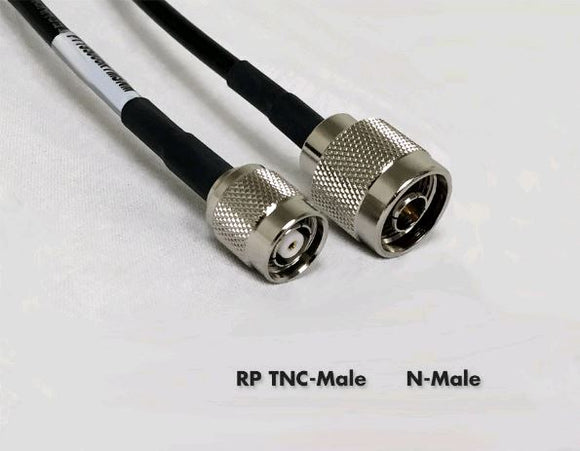 PT240-024-RTM-SNM: 240 Type Low Loss Coax Cable - 24 Feet - RP TNC Male - N Male