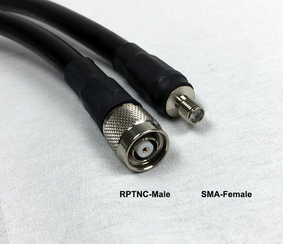 LMR400 Type Equivalent Low Loss Coax Cable - 25 Feet - RP TNC Male - SMA Female