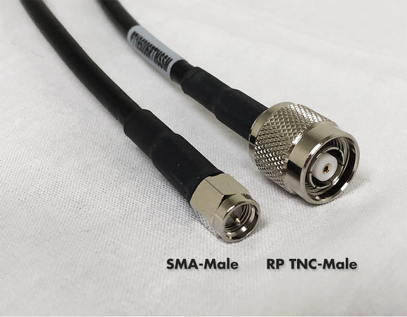 LMR400 Type Equivalent Low Loss Coax Cable - 15 Feet - RP TNC Male - SMA Male