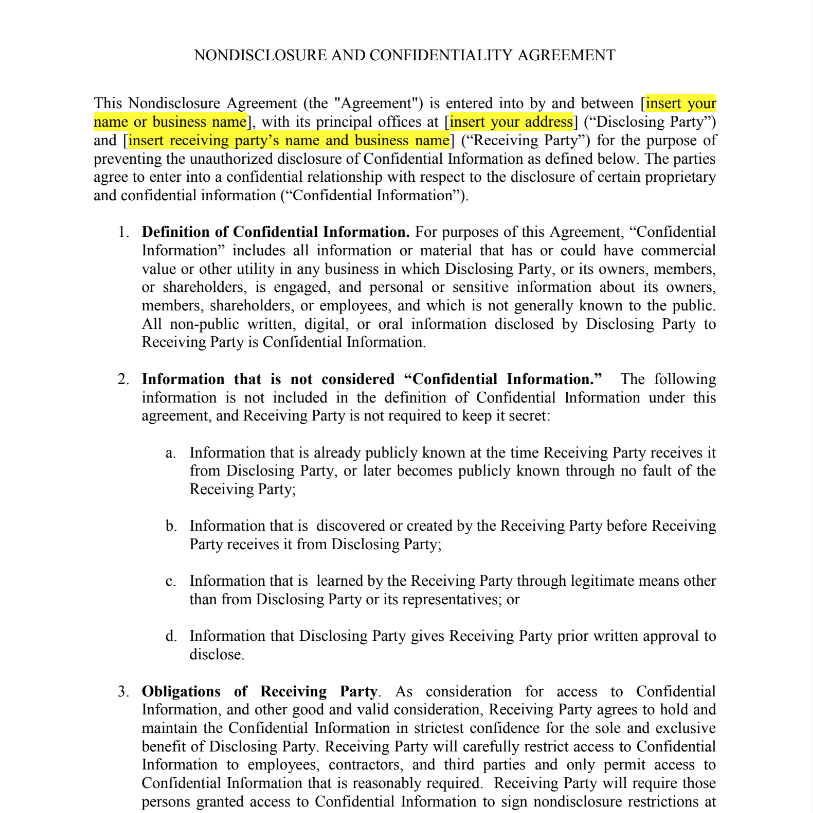 confidentiality agreement screenshot