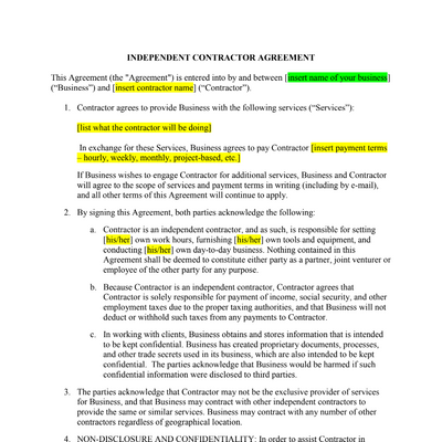 independent contractor contract template screenshot