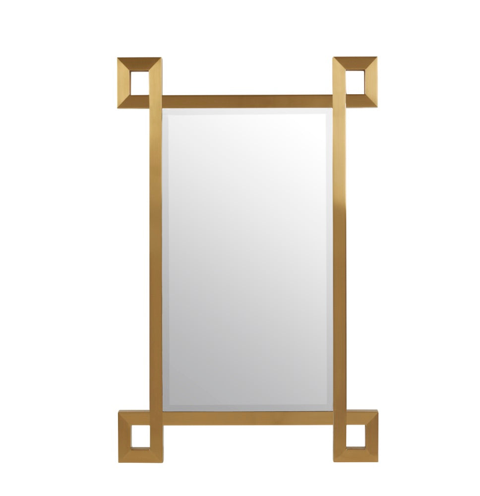 Serena fretwork brass mirror