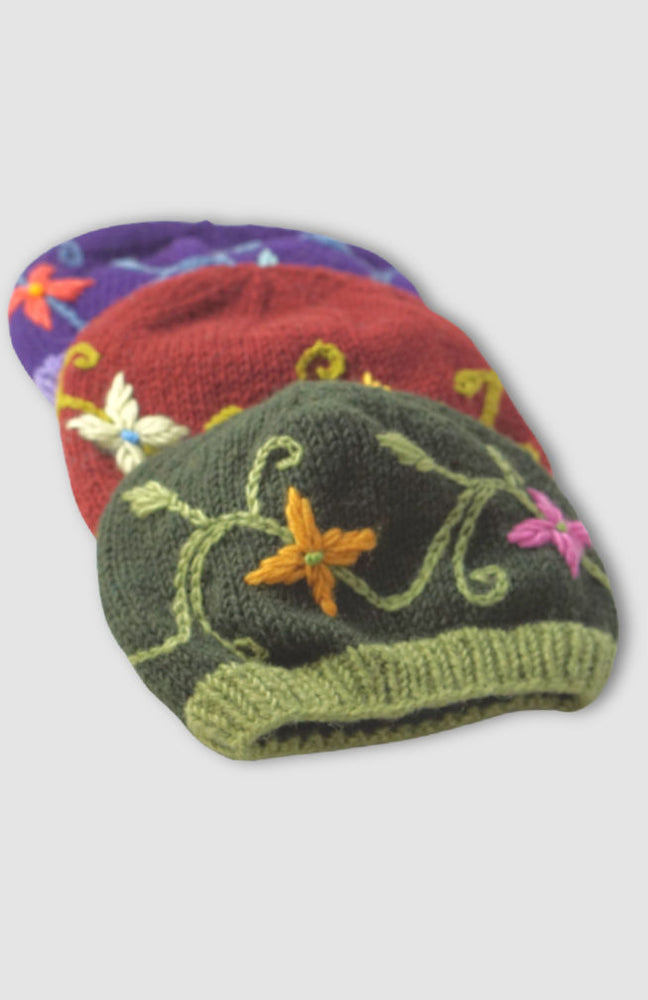 Load image into Gallery viewer, Embroidered Flower Beanie