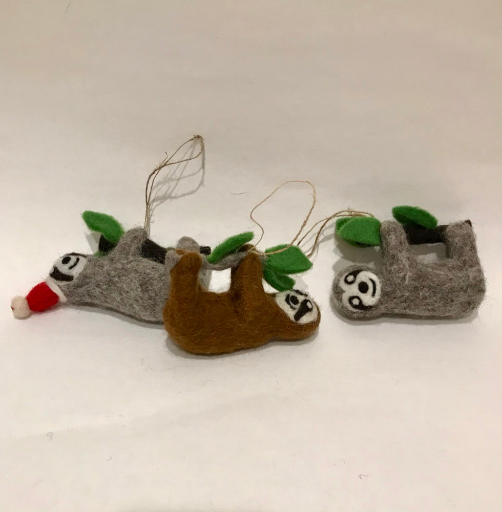 Felted Sloth Ornament