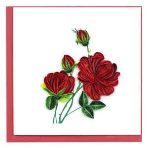 Load image into Gallery viewer, Red Rose Quilling Card