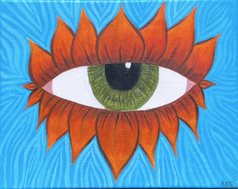 """Lotus Eye Blue Orange"" by Alyssia Strasser"