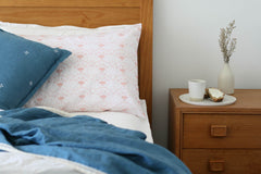 Oh Mabel Blush Printed Organic Cotton Pillowcases On Bed