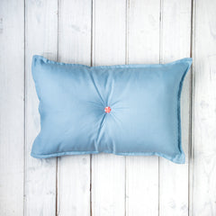 Oh Mabel Vintage Inspired Linen Cushion in Blue with Button