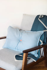 Oh Mabel Vintage Inspired Linen Cushion in Blue with Button_2