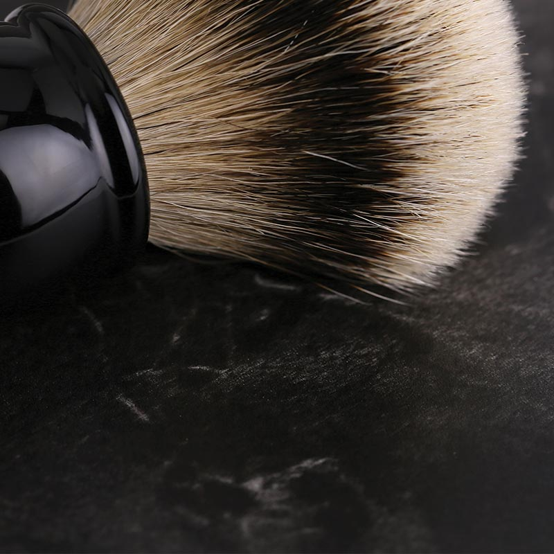 The Stray Whisker Silvertip Badger shave brush