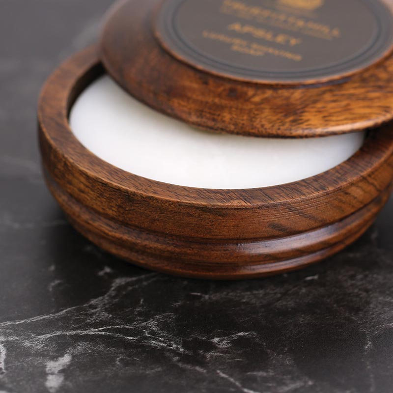 Truefitt & Hill Apsley Shave Soap in a wooden bowl