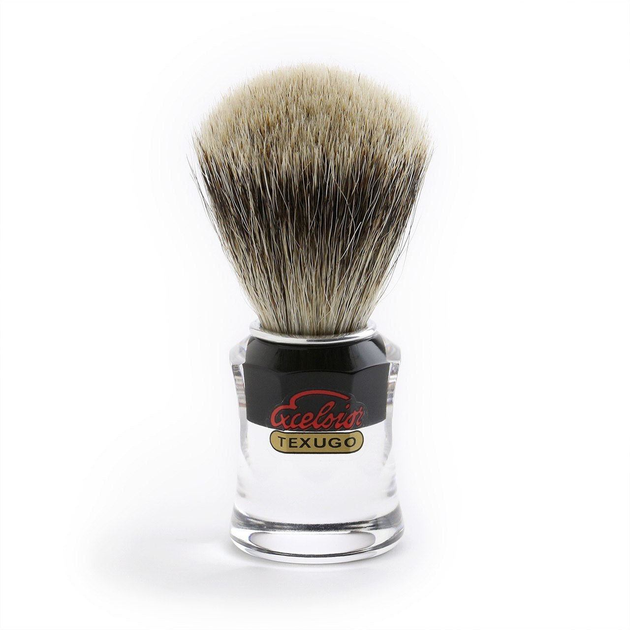 Semogue Silver Tip Badger Shaving Brush with Clear/black retro acrylic handle
