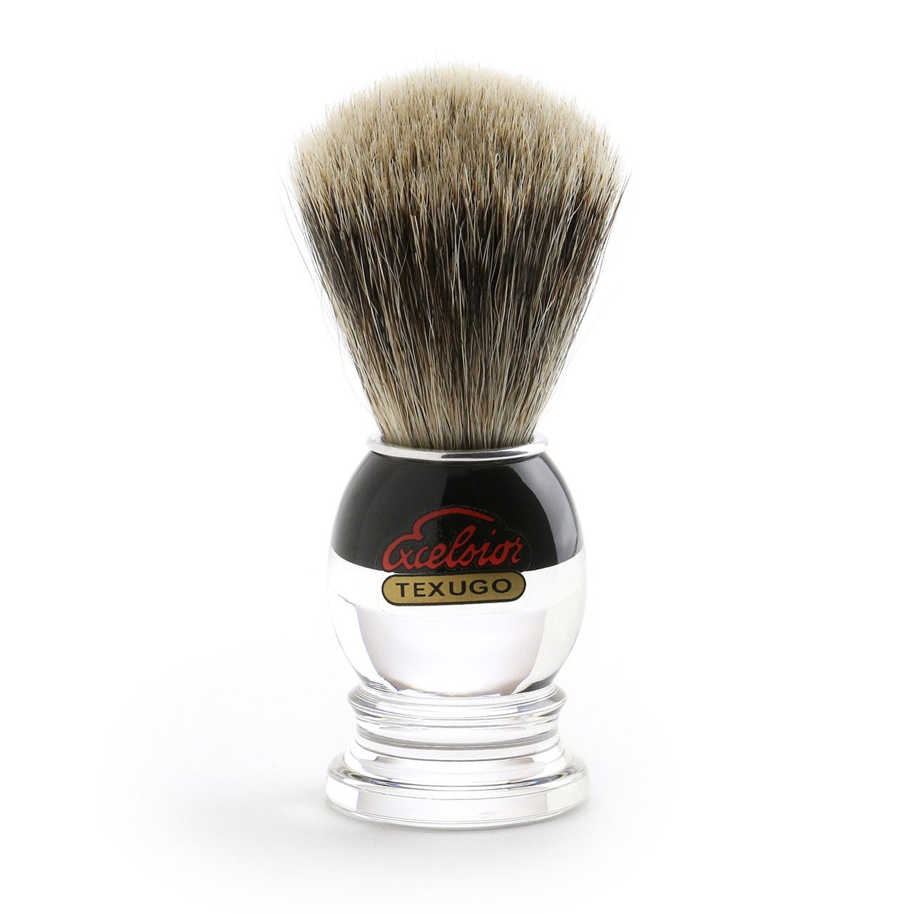 Semogue Silver Tip Shaving Brush, black and clear retro acrylic handle