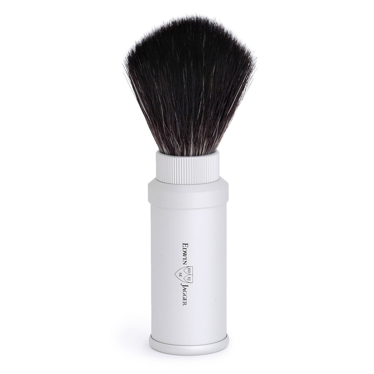 Edwin Jagger Travel Black Synthetic Shaving Brush  - Silver