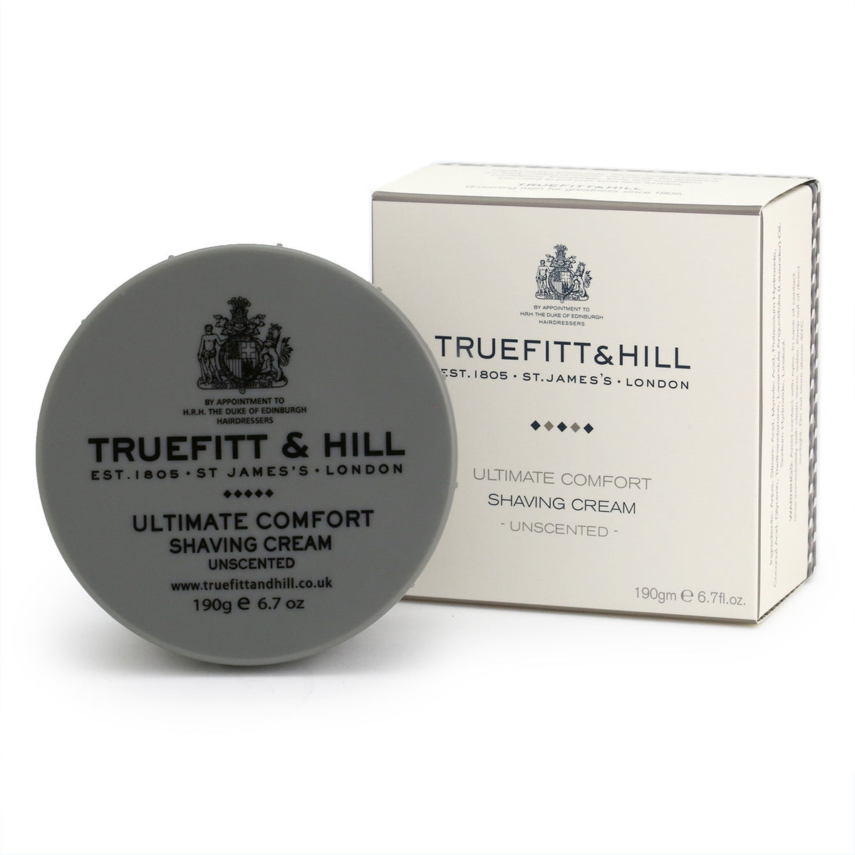 Truefitt & Hill Ultimate Comfort Unscented Shave Cream Bowl 190g