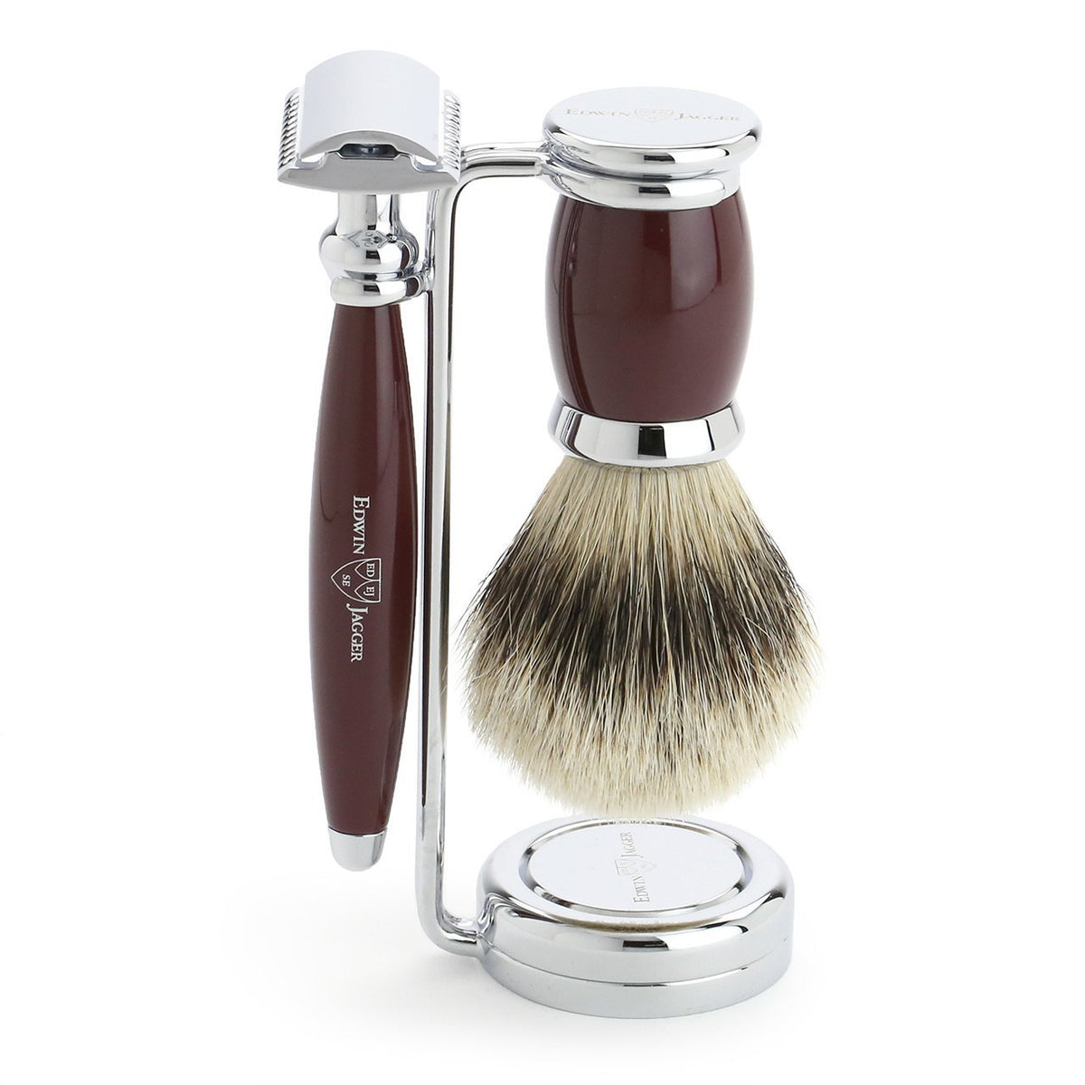 Edwin Jagger Bulbous 3 Piece Chrome Plated Shaving Set - Red