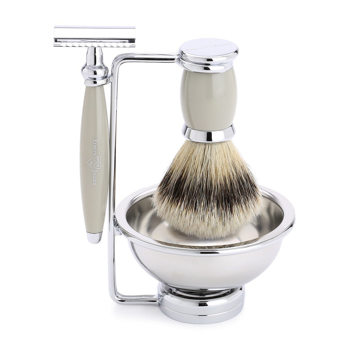 Edwin Jagger Bulbous 4 Piece Chrome Plated Shaving Set - Grey