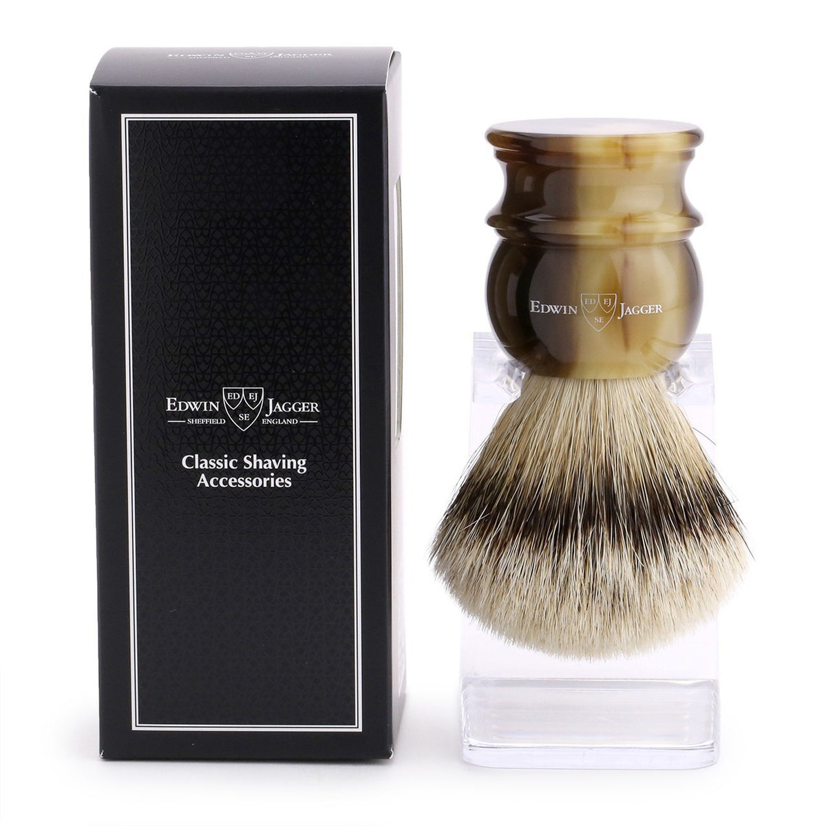 Edwin Jagger Silver Tip Shaving Brush Extra Large - Light Horn
